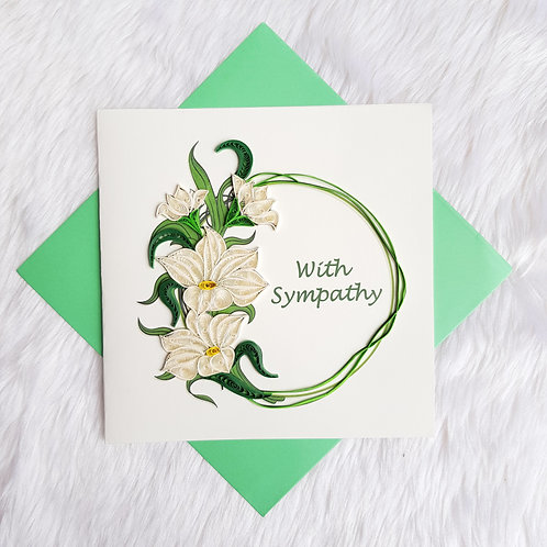 """White Blossom """"With Sympathy"""" Card"""
