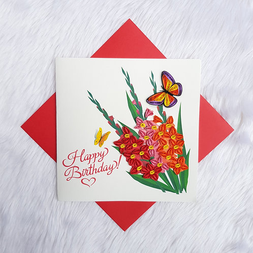 Wildflower & Butterfly Birthday Card
