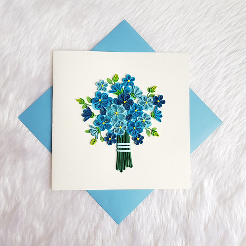 Blue Flower Bouquet Card