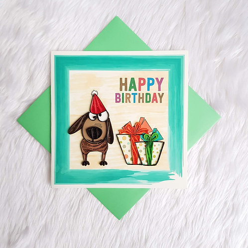 Puppy & Presents Birthday Card