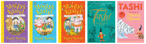 Book covers: Monty's Island by Emily Rodda and Tashi by Anna FienbergF