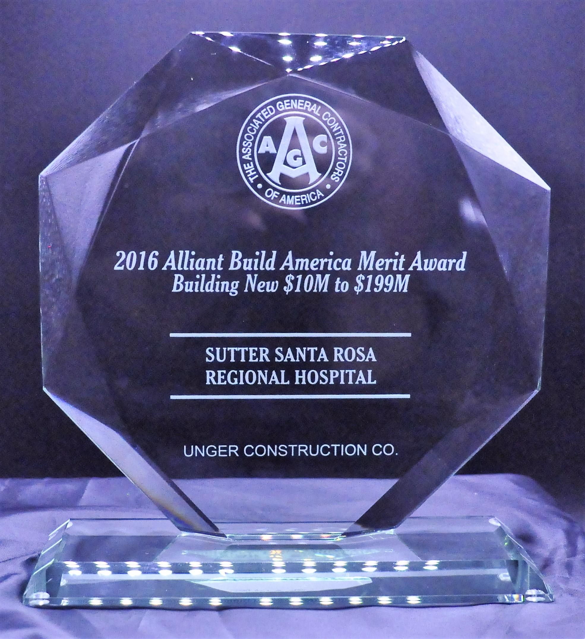 2016 Award for Sutter Santa Rosa