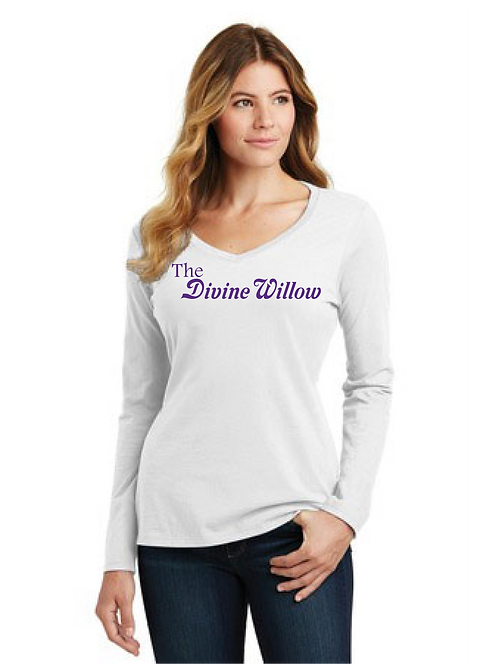 Port & Company Ladies Long Sleeve Fan Favorite V-Neck Tee - The Divine Willow