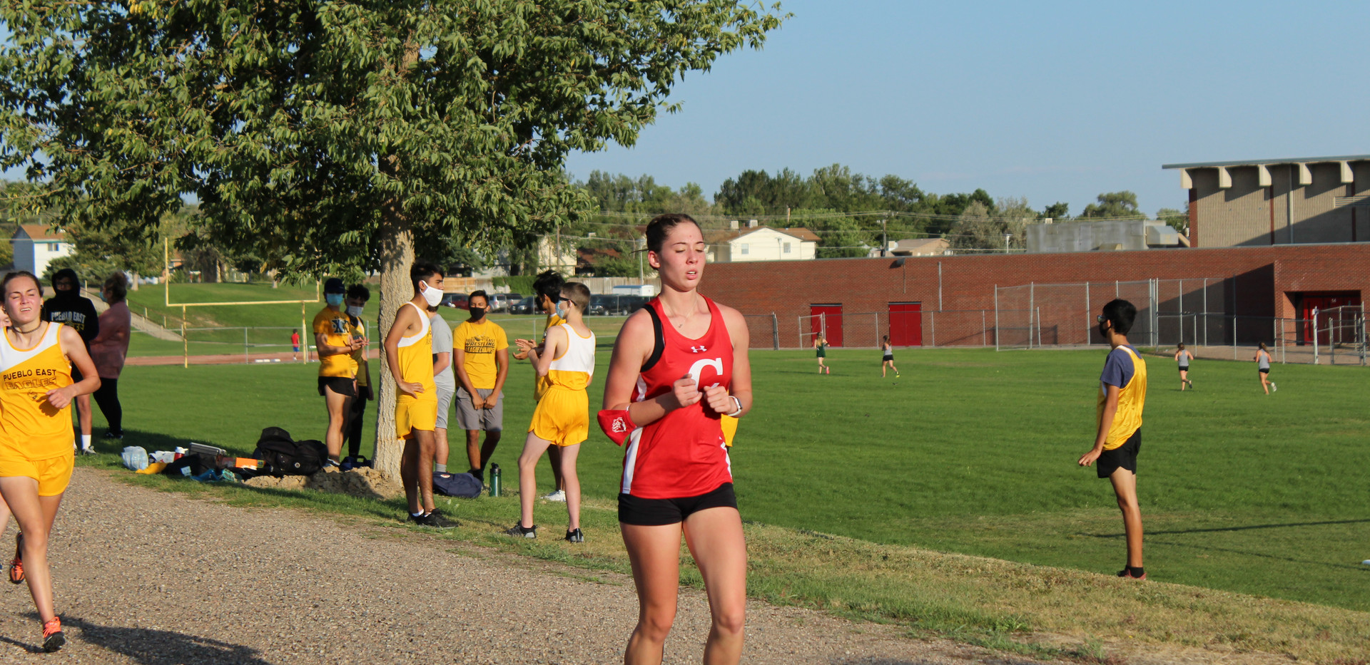 Sophomore, Kyla Garrison, pushes through