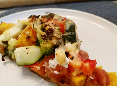 Homemade veggie loaded pizza