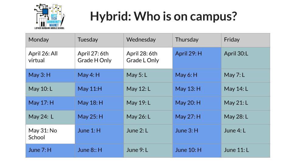 LBMS Hybrid Return Schedule beginning Ap