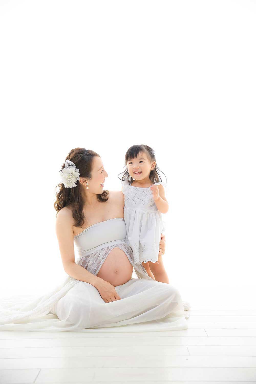 マタニティフォト マタニティ 家族写真 母娘 妊婦写真 お腹