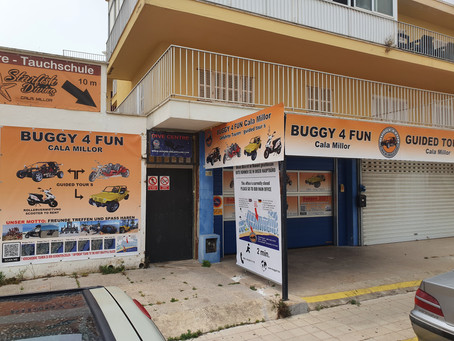 Unser neues Trike und Mini-Jeep lokal in Cala Millor