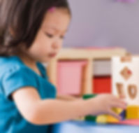 A toddler girl playing with blocks