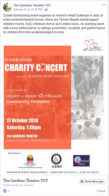 Facebook post about Fundraising Charity Concert, organised by Heart to Heart Outreach Community Orchestra, venue at the Gardens Theatre
