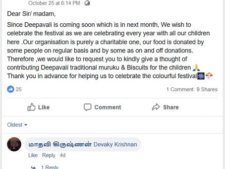 Deepavali Charity Giving