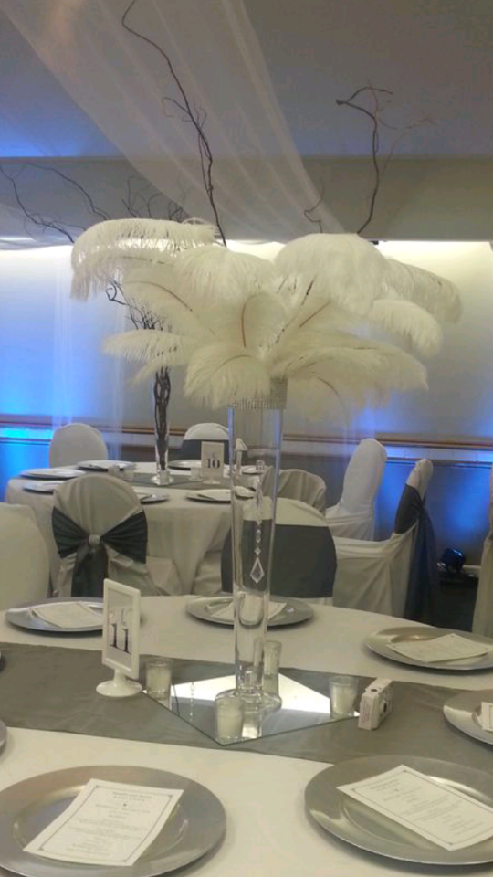 Osterich Feather Centerpiece