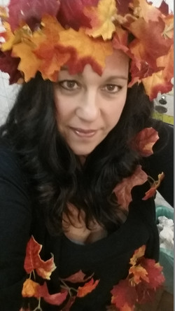 Dressed up as Fall for Halloween Party at The Cabin