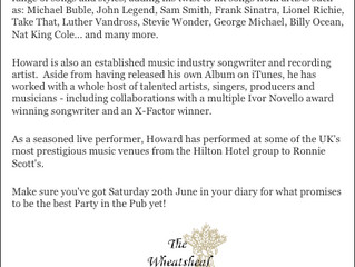 Howard booked to perform for charity @Party in the Pub 2015!