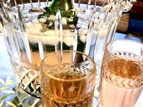 Crystal flutes of sparkling wine