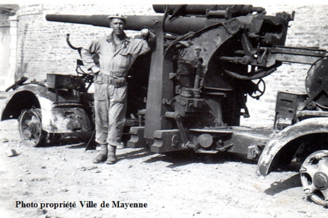 Destroyed 88mm Ville Mayenne, two 88mm guns defended the Bridge crossing