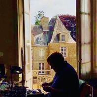 Matt at painting desk .JPG
