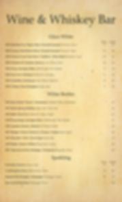 Wine & Whiskey Bar menu Jersey City page