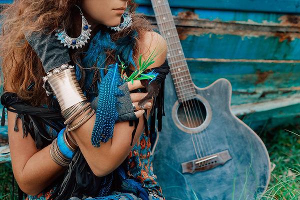 attractive gypsy girl close up portrait