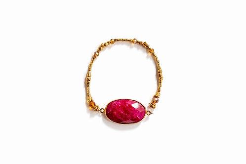 Ruby + Gold Bead Bracelet