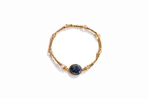 Lapis + Gold Bead Bracelet