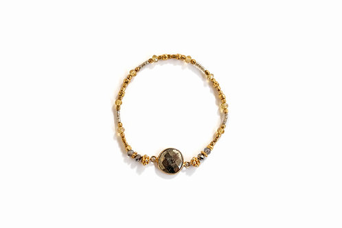 Hematite + Gold Bead Bracelet