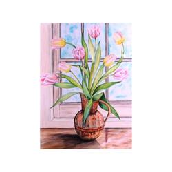 Tulips in Brass Jug