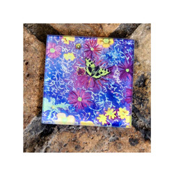 Floral Butterfly Glass Coaster