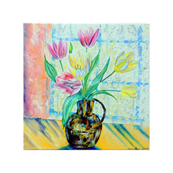 Pink & Yellow Tulips in Brass Jug