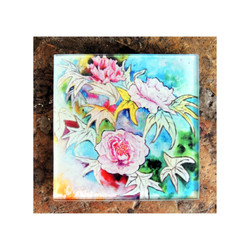 Peony flowers Glass Coaster