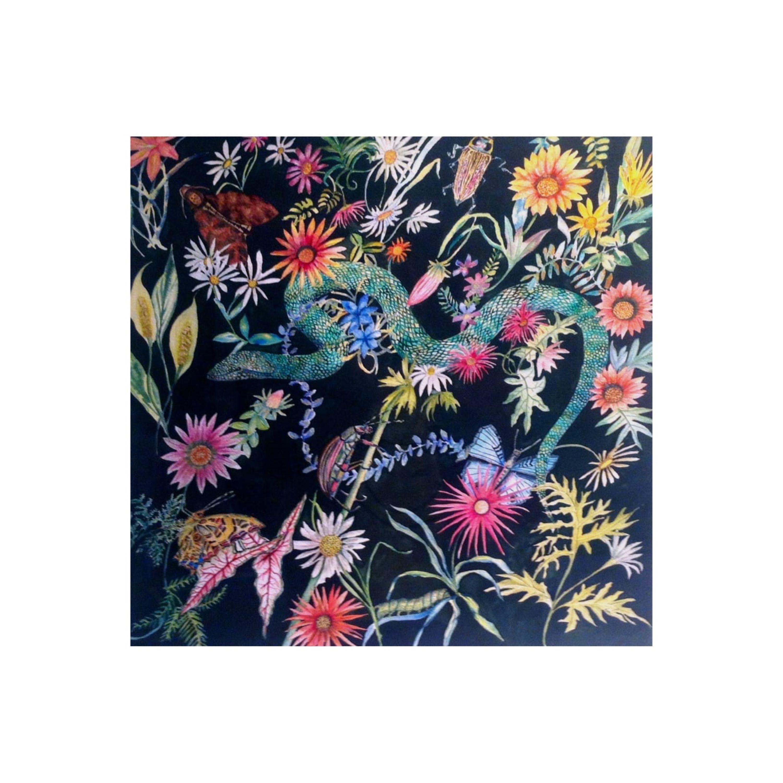 Green Snake amongst Flowers