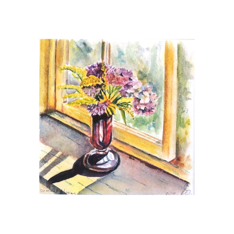 Summer Flowers in Window