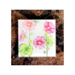 Pink Hollyhocks Glass Coaster