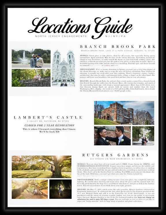 engagements, branch brook park, lamberts castle, rutgers gardes, tri state area, locations guide]