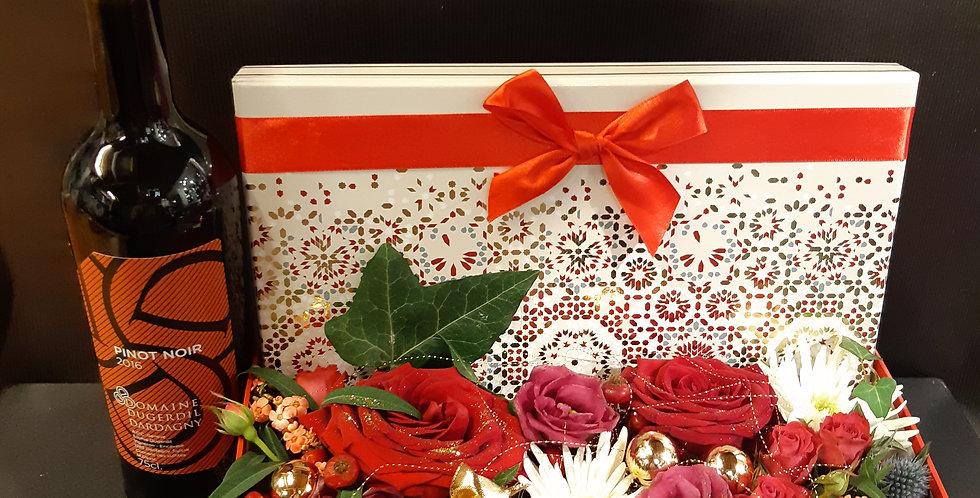 Coffret festif fleurs et vin