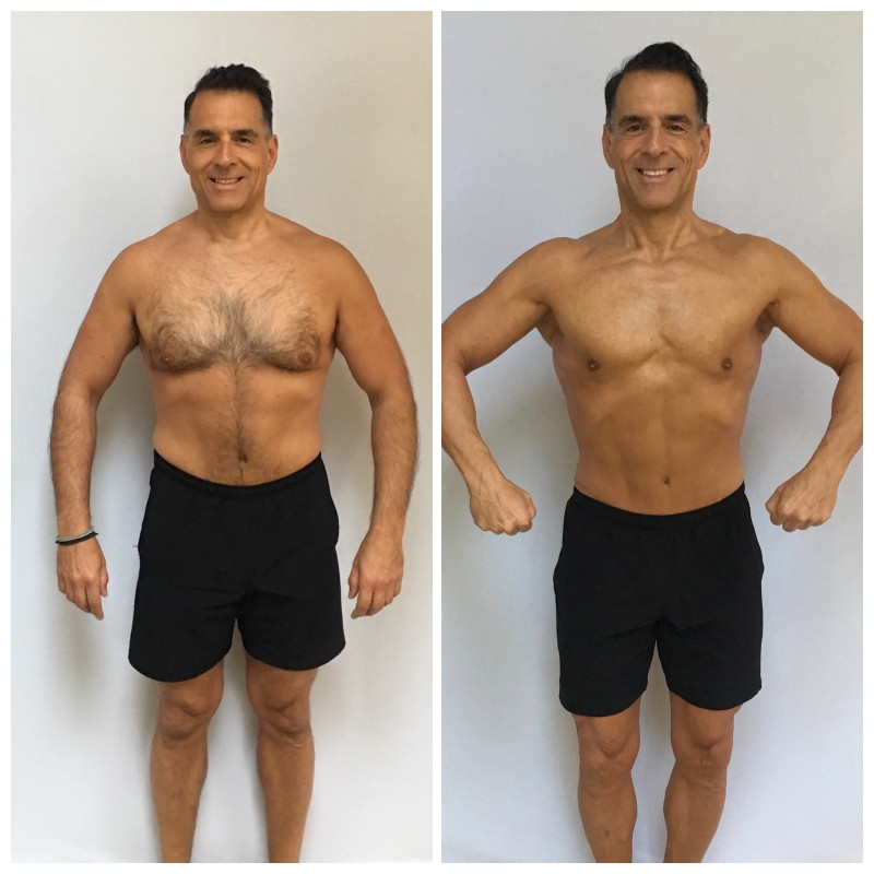 Before and After pic of ReinventionKing Gregory Cole, Week One and Week 12, before competing in first bodybuilding show at age 55.