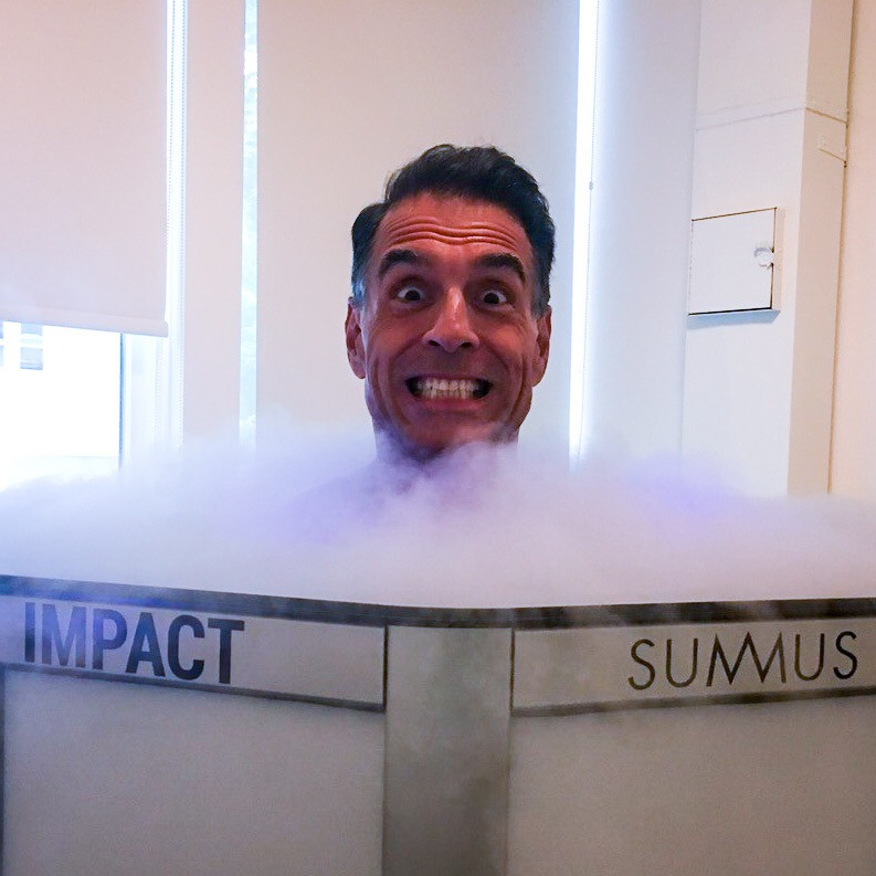 ReinventionKing Gregory Cole enjoying cryotherapy