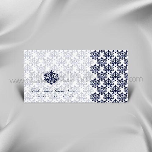 White & Navy Muslim wedding Card QDL46