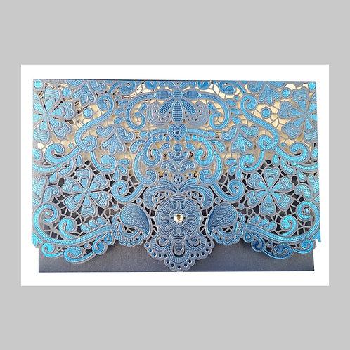 Blue Lace Pocket Invitation With Diamante LC6017