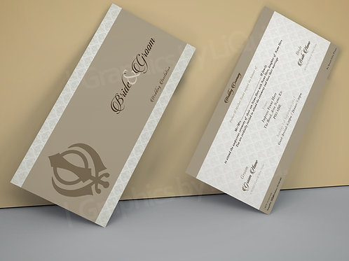 Beige DL Wedding Invitation Card QDL36