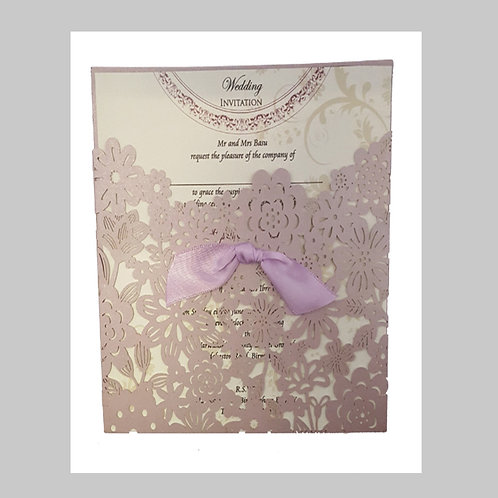 Pocket Invitation With Lacy Flowers Laser Cut LC1019