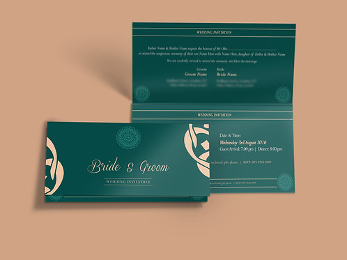 Emerald Green & Cream Folded DL Wedding Invitation Card QTF12