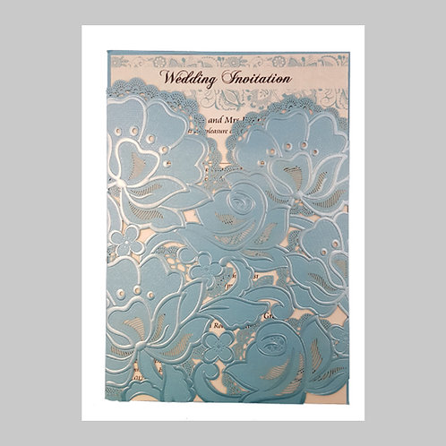 Blue Floral Pocket Invitation Laser Cut LC1015
