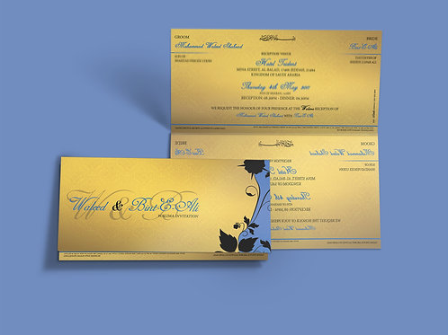 Gold & Blue Folded DL Wedding Invitation Card QTF08