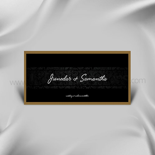 Black bordered classy wedding Card QDL11