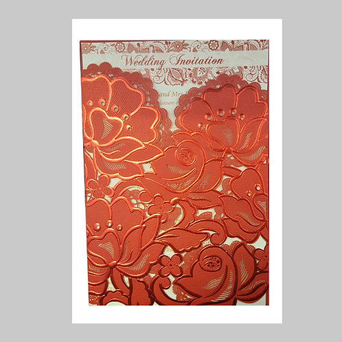 Red Floral Pocket Laser Cut Invitation With Gorgeous Blooming Flowers LC1015