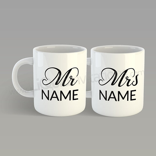 Mr & Mrs Personalised Name Couple Wedding Mugs QMG05
