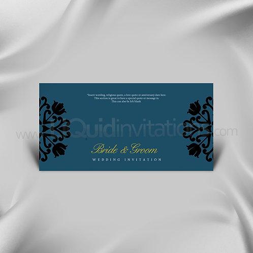 Iconic Dark Turquoise Wedding Card QDL31