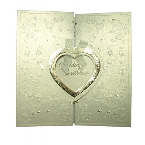 Ivory Gate Fold With Gold Heart Foiled Wedding Card W001