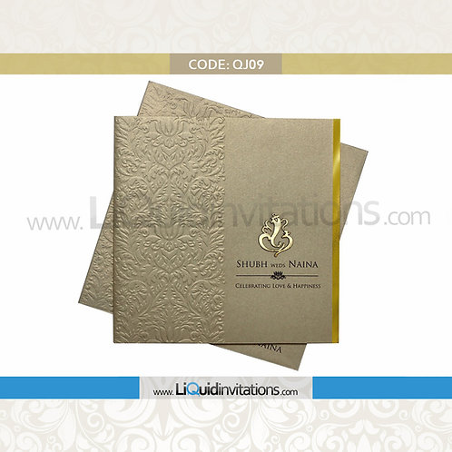 Off Grey & Black Wedding Invitation Card QJI09